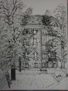 Hon. George E. Coles Bldg., pen & pencil on paper, 9