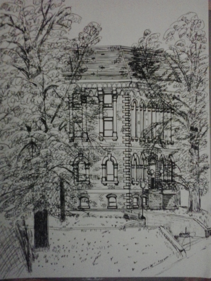 "Hon. George E. Coles Bldg., pen & pencil on paper, 9""x12"", ©2014 Cindy Lapeña"