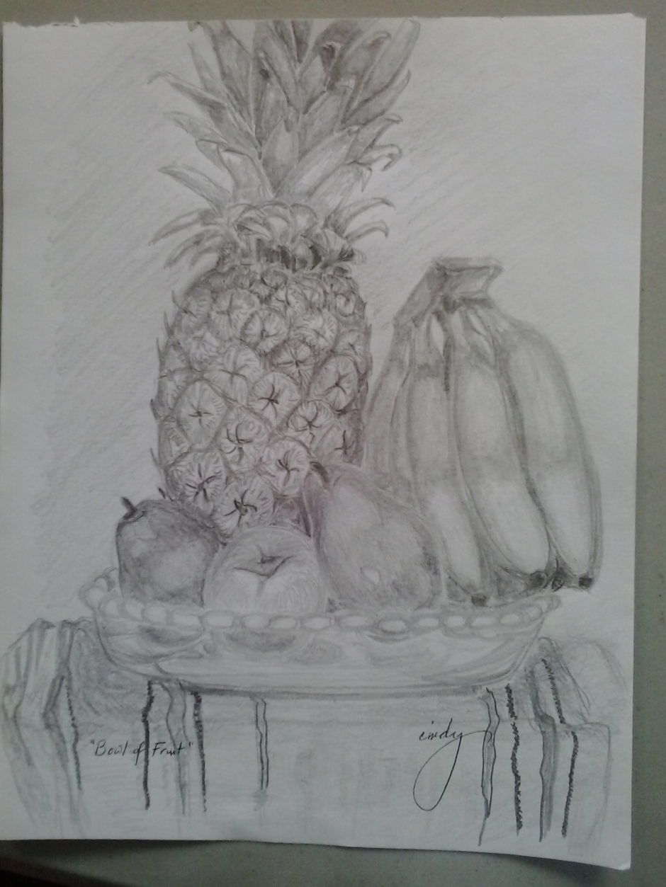 "Fresh Fruit, pencil on paper, 9""x12"", © 2014 Cindy Lapeña"