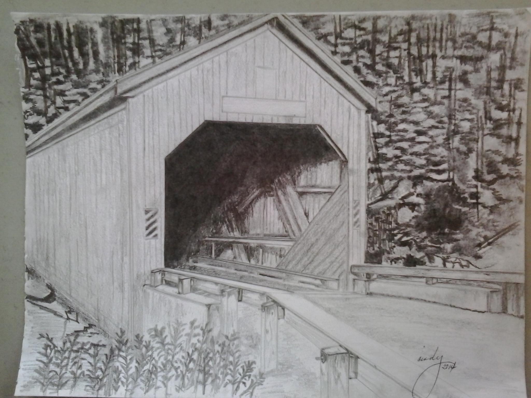 Covered bridge pencil sketch