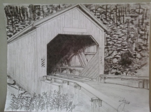 Covered Bridge, pencil on paper, 9