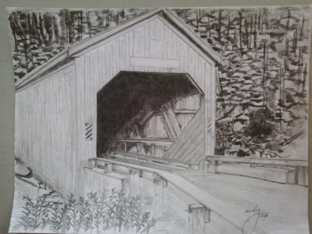 "Covered Bridge, pencil on paper, 9""x12"", © 2015 Cindy Lapeña"