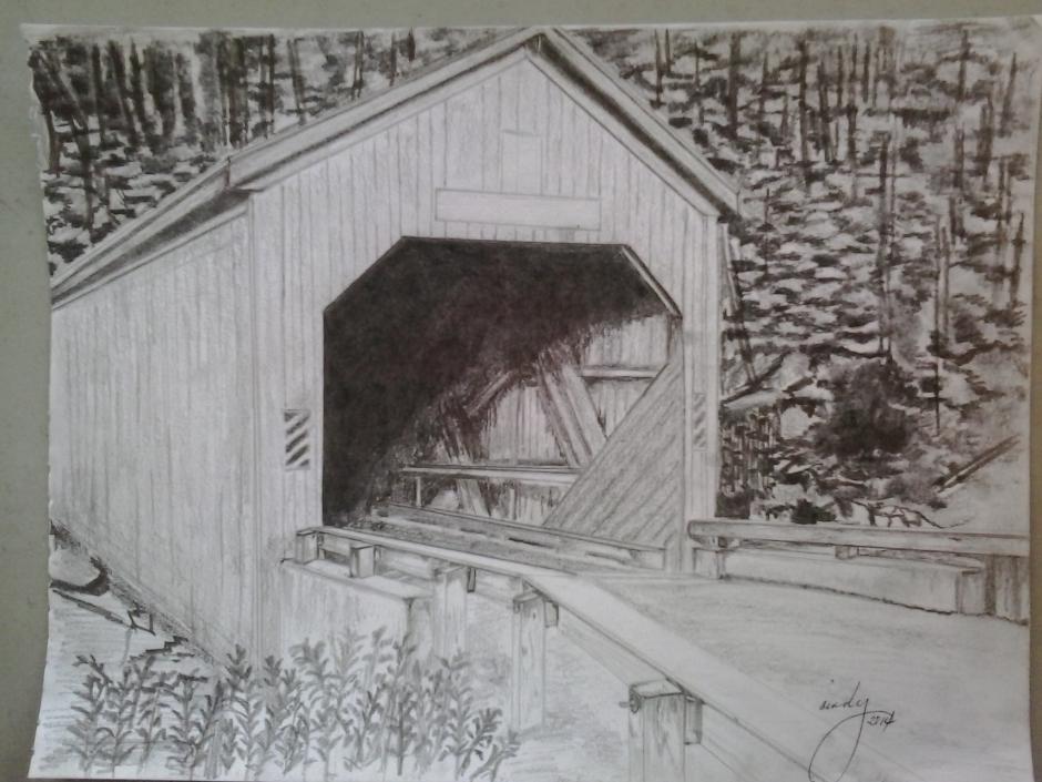 "Covered Bridge, pencil on paper, 9""x12"", © 2015 Cindy Lapeña"