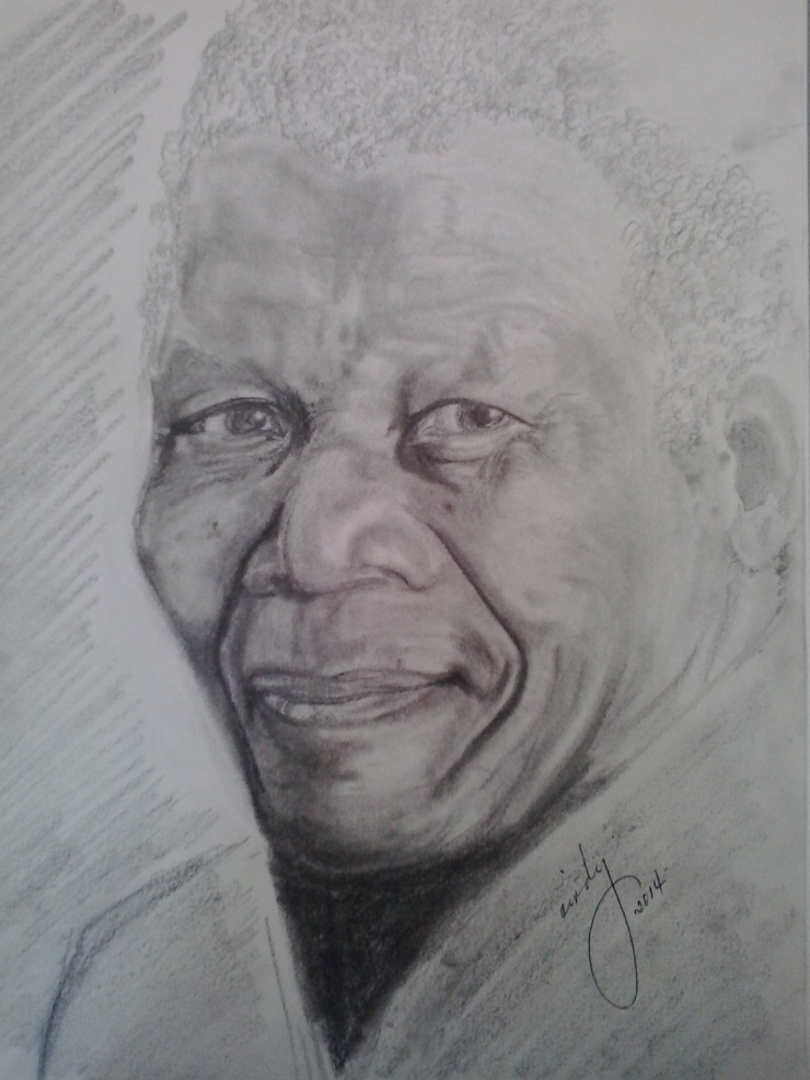 "Nelson Mandela, pencil on paper, 9""x12"", © 2014 Cindy Lapeña"