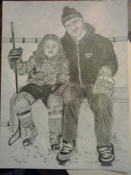 "Hockey with Grampa, pencil on paper, 9""x12"", © 2015 Cindy Lapeña"