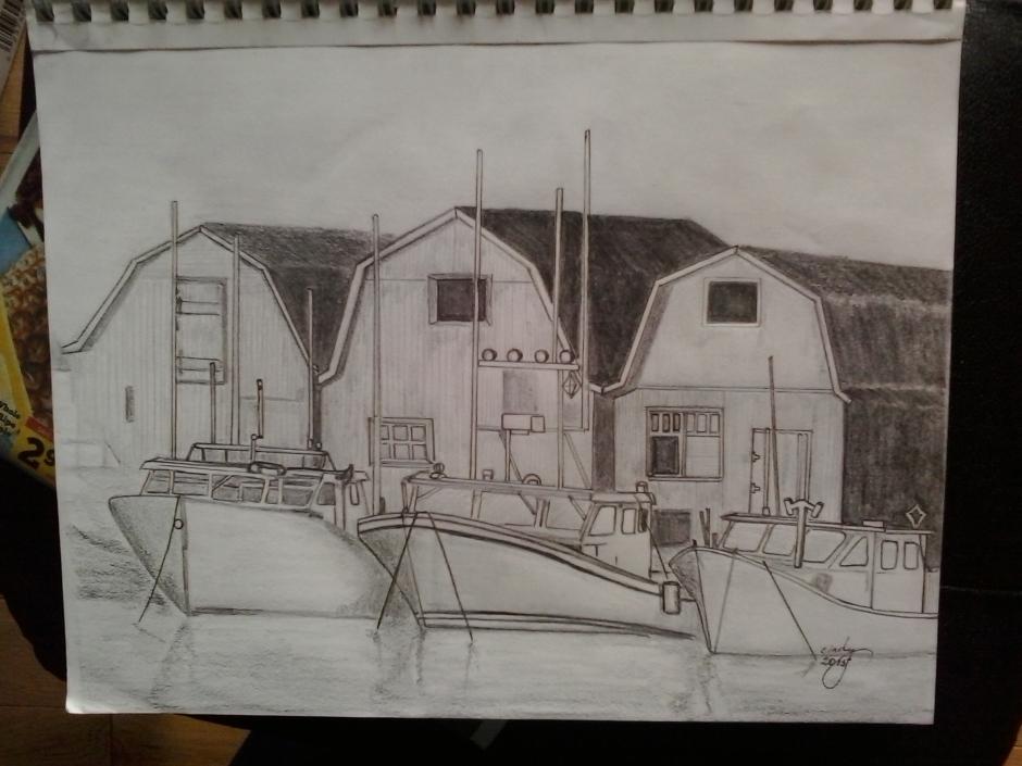 """Safe Harbour, pen on paper, 9""""x12"""", ©2015 Cindy Lapeña"""