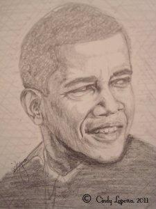 Barack Obama pencil on paper 9