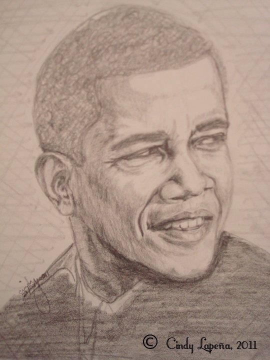 "Barack Obama pencil on paper 9""x12"" ©2011 Cindy Lapeña"
