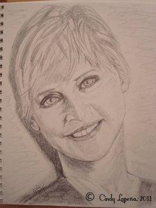Ellen Degeneres, pencil on paper, 9