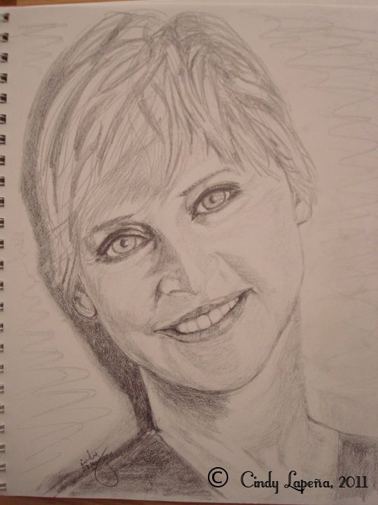 "Ellen Degeneres, pencil on paper, 9""x12"", © 2011 Cindy Lapeña"