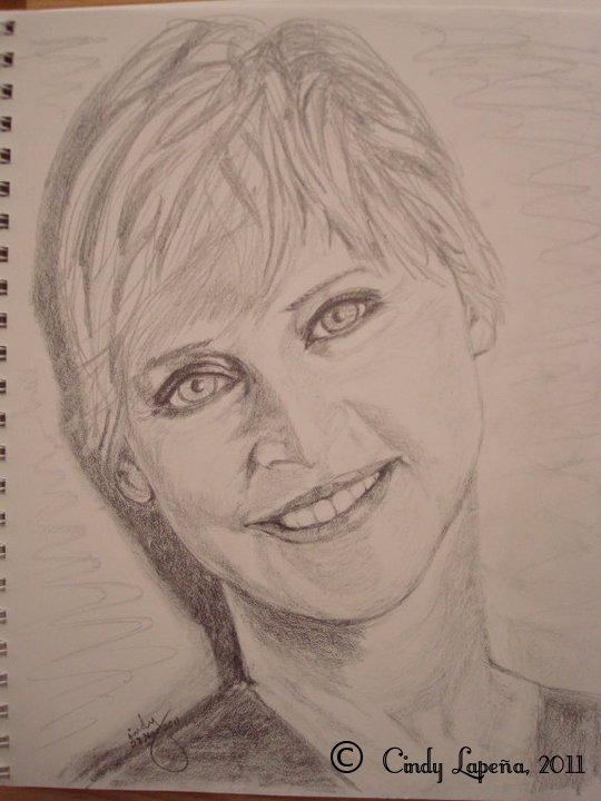 "Ellen Degeneres, pencil on paper, 9""x12"", © 2011 Cindy Lapeña"