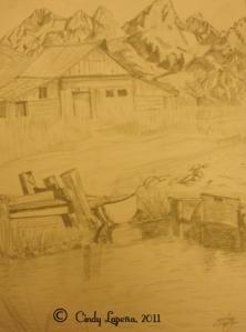 Landscape, pencil on paper, 9