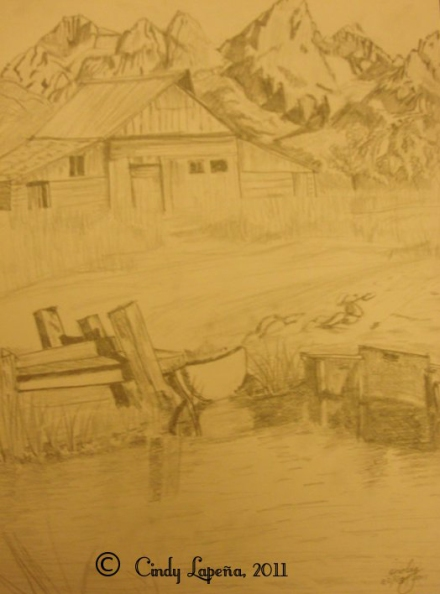 "Landscape, pencil on paper, 9""x12"",  © 2011 Cindy Lapeña"