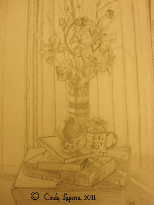 "Still Life, pencil on paper, 9""x12"", © 2011 Cindy Lapeña"